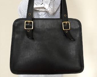Vintage COACH Legacy Black Leather Satchel Shoulder Bag Purse Handbag