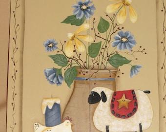 Folk Art sheep, chicken, vase with flowers