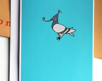 Birthday Party Pigeon Illustration A6 Card