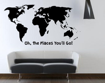Oh the Places You'll Go - Large World Map Decal - Wall art - Home Decor - Living Room - Bedroom - Office - Gift Idea