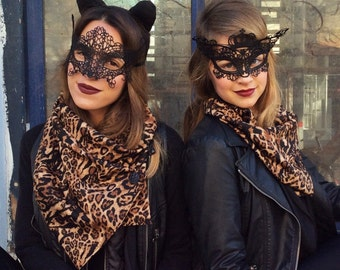 halloween accessories, halloween scarf, Leopard Scarf , Animal Print Scarf , Brown Black Scarf , Women Fashion Scarf , Leopard Shawl, Cowl