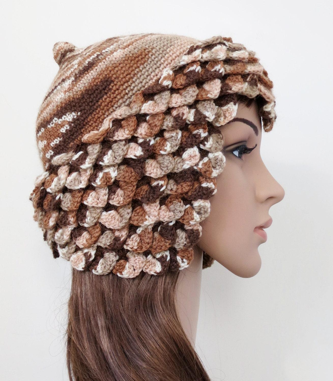 s earflap hat brown beanie unique by minnamatildadesigns