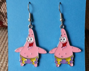 Fun Patrick Star - Spongebob Themed Earrings - Low Flat Rate Shipping on US Orders!  Great Gift Idea!