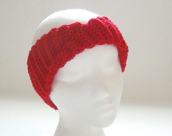 Crochet Headband - Vibrant Red Headband - Ear Warmer - Twisted Turban Head Band