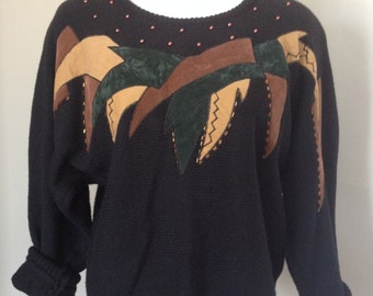 Vintage 80s / 90s Black Beaded Applique Dolman Sleeve Sweater / Batwing Sweater / Size Large L