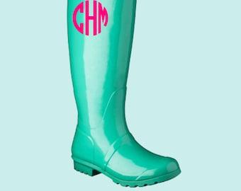 Rainboot Monogram Decal, Rain Boot Decal, Rain Boot Monogram
