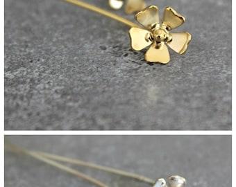 Gold earrings, Gold flower post earrings with a long ear wire, dainty,  simple, pretty, feminine, Unique
