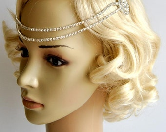 Bridal Rhinestone Headband 1920s Chain The Great Gatsby flapper Headpiece, 1920s Headpiece, crystal SWAROVSKI Rhinestone flapper, halo
