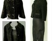 1950s Black Boucle Cropped Ladies Bolero Jacket