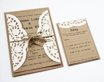 Doily Kraft Wedding Invitation Set - Rustic Wedding Invitation, Twine Tied Tag and Pearl Detailing