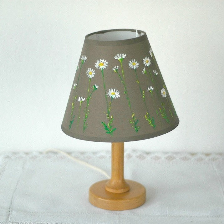 hand painted lamp shade with wild flowers. Black Bedroom Furniture Sets. Home Design Ideas