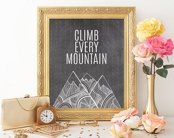Mountain Printable Art Print 8x10 Chalkboard Print Climb Every Mountain Quote Paper Canoe Instant Download Digital Art Print