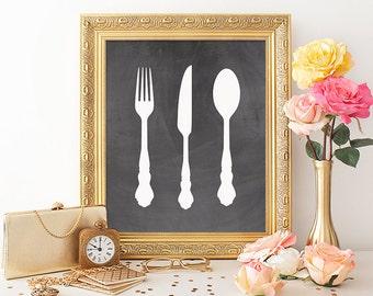 Utensil Print Printable Art 8x10 Kitchen Print Kitchen Printable Knife Fork Spoon Kitchen Utensils Poster Chalkboard Kitchen Decor Download