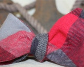 Men's Freestyle Bow Tie, Red Black and Gray Flannel Bow Tie, Gingham, Buffalo Plaid, Self tie bow tie, Pier