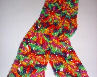 Rainbow Scarf Bright Rainbow Crochet Scarf Spider Web Crochet Spider Web Stitch Bright Scarf