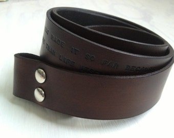 Custom Leather Belt with Personalized Engraving - Black/Brown/Tan Leather Belt with personalized message - Christmas gift - birthday present