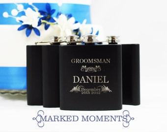 5 Flasks - Groomsman Best Man Gift, SET OF 5 Black Engraved Flask 6oz for Groom, Best Man, Father of the Bride Hip Flask - FOLIAGE design