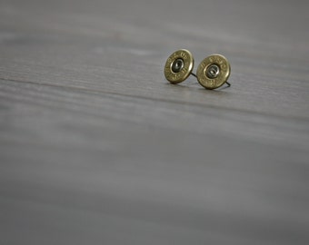 Bullet Earrings, Stud Earrings, Upcycled Jewelry, Federal 45 Brass Bullet, Surgical Steel