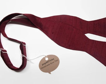 Freestyle Burgundy Silk Bow Tie - Wine Bow Tie - Burgundy Bow Tie - Self-Tie Bow Tie - Red Silk Shantung Bow Tie - Red Bow Tie