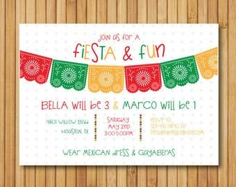 Fiesta Birthday Invitation- Cinco de Mayo Invitation- Fiesta Theme Invitation- Fiesta Birthday Party Printables