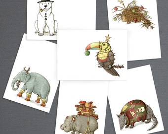 Hand-Illustrated Christmas Mini Art Notes (set of 12)