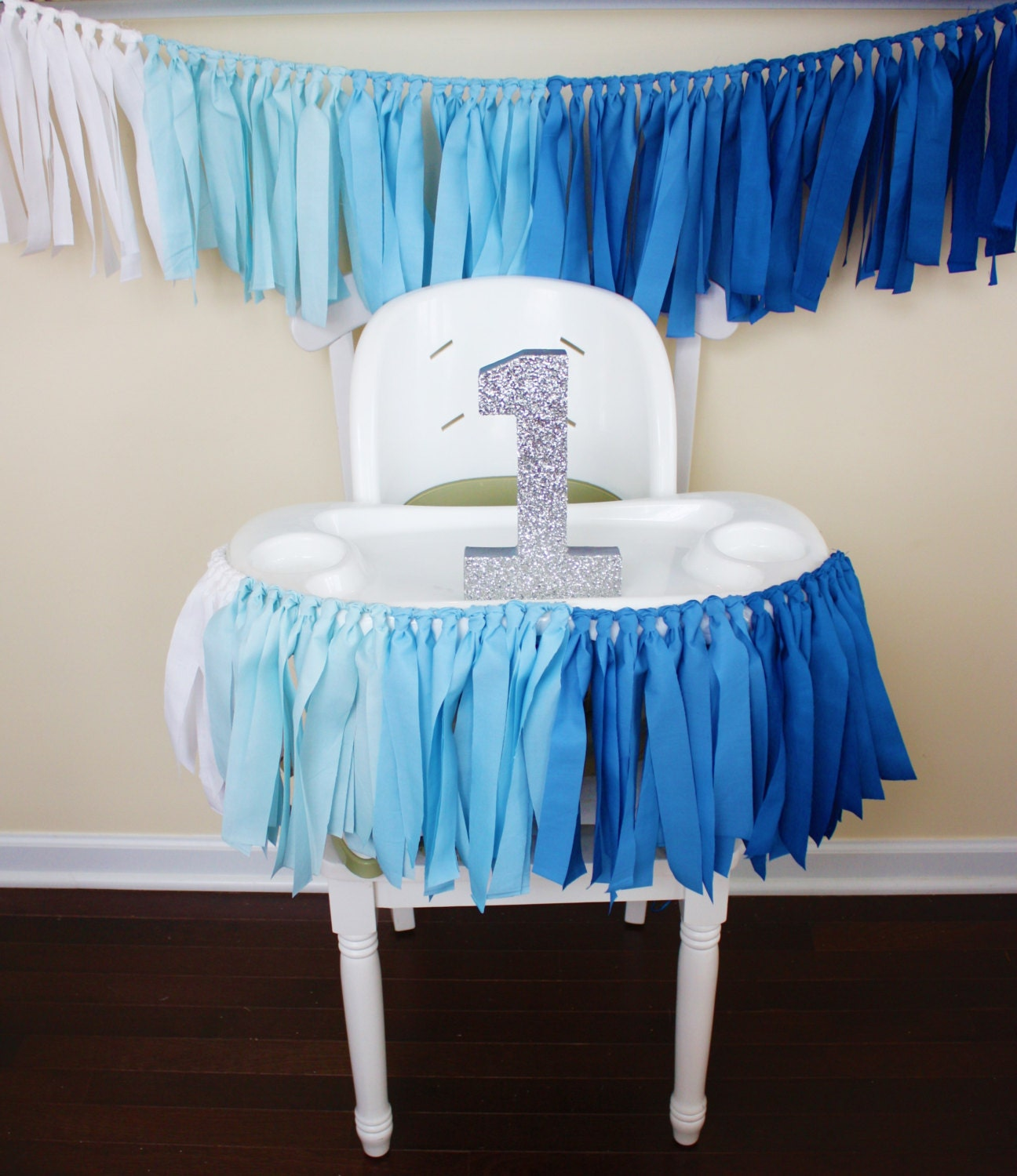 Blue Ombre Garland 1st Birthday Boy Highchair Banner