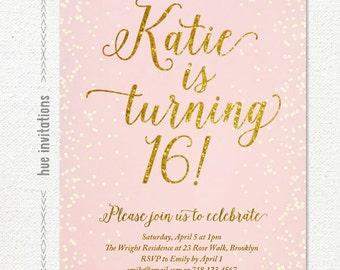 16th birthday invitation, pink and gold glitter sweet 16 birthday party invitation, digital teen birthday invite, simple printable file 112