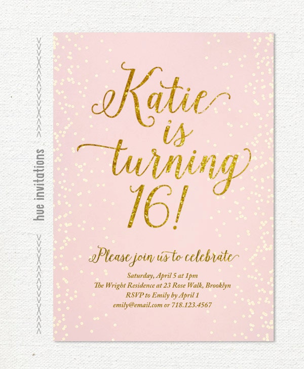 sweet 16 invitation | etsy, Birthday invitations