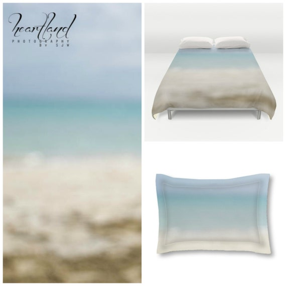 Duvet Cover Set, Twin Queen King, Blue Ombre, Abstract Ocean, Beach Themed Bedding, Tropical Bedroom, Blue and Beige, Ocean Photography