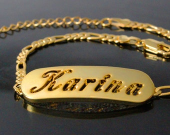 """Name Bracelet KARINA - 18K Gold Plated Personalised Bracelet. 10"""" Figaro Chain with Gift Box and Gift Bag."""