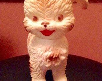Vintage Rubber Squeaky Puppy Dog Toy by Edward Mobley from Arrow Rubber & Plastic Co.  Woofie Wolfie Jr. Squeak Puppy Dog