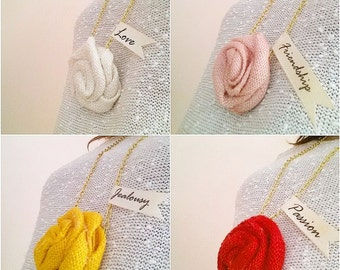 Gilded Necklace with Burlap Rose Love Writing