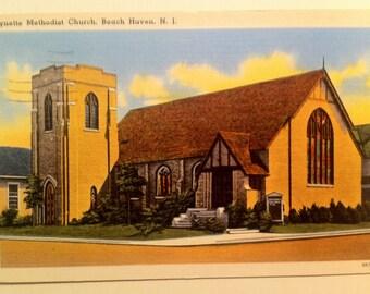 Vintage Beach Haven N.J. Postcard Kynette Methodist Church 1958