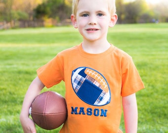 Boy's Football Shirt with Orange and Navy Madras Plaid and Embroidered Name - M37