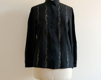 1980s silk blouse with lace and pleats