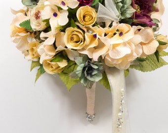 Silk Two piece WEDDING FLOWERS bouquet  package gold