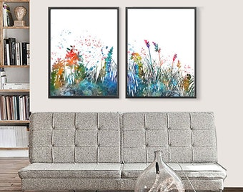 Flowers Art Print Watercolor Floral Decor, Flower Art, Flower Watercolor Poster - Set of 2 prints - 448/450