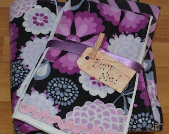 Personalized Purple Floral and Chevron Baby Blanket and Burpers Set