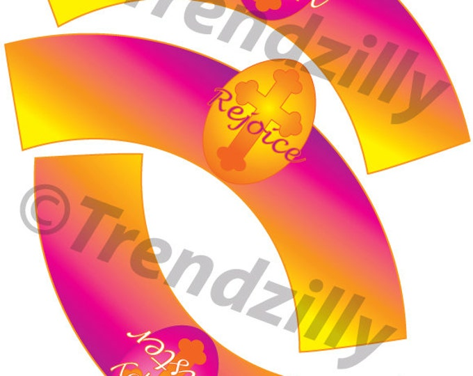 Easter Cupcake Wrappers, He is Risen Easter Cupcake Wrappers, Happy Easter Cupake Wrapper, Rejoice, Easter, Printable Instant download.