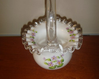 Fenton Basket Hand Painted Violets In The Snow Basket With Silver Crest Edge