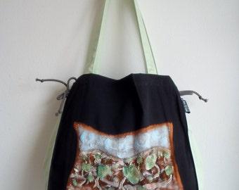 Mediterranean olive field, Olives painted on bag, designers bag, olives hand painted, black bag, mint green bag, designers bag, Unique Item