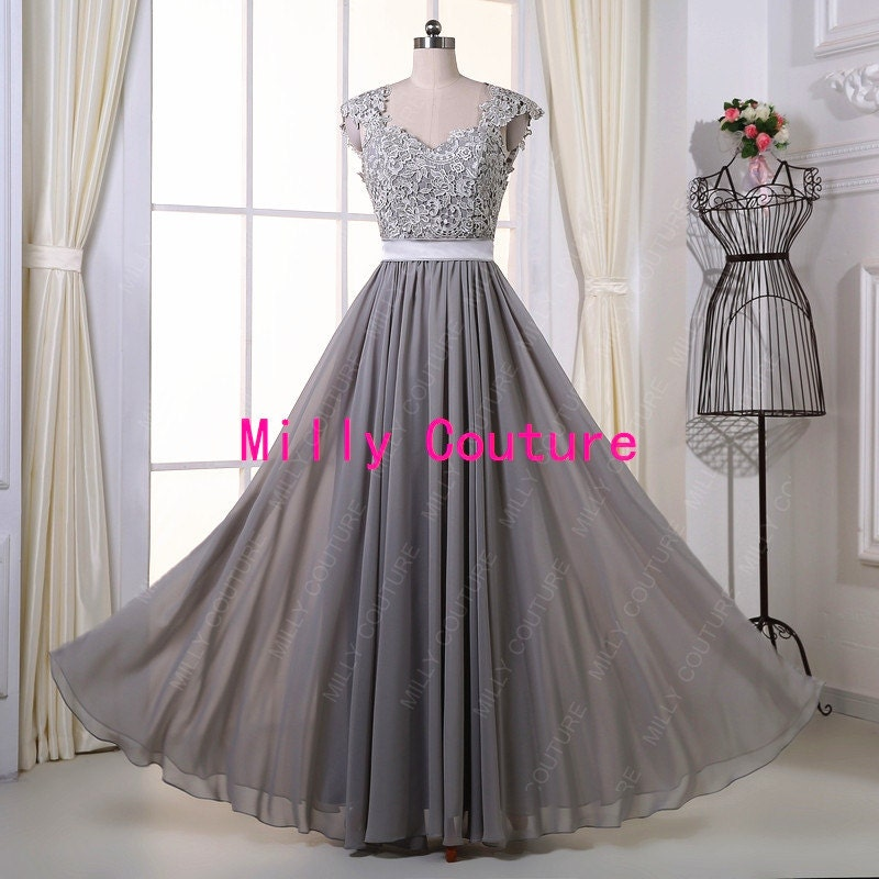Grey long lace bridesmaid dress backless lace prom by for Gray lace wedding dress