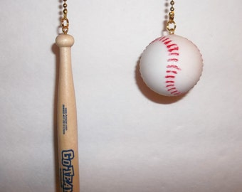 BaseBall and Wood Bat Ceiling Fan chain pulls Handcrafted