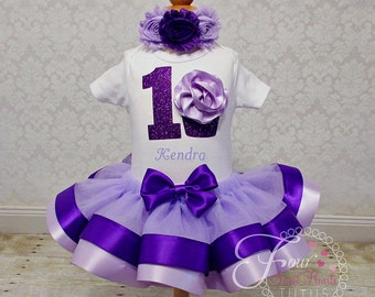 Purple Cupcake Birthday Outfit, Girls First Birthday Outfit, Purple Birthday Outfit, Purple Tutu Outfit, Custom Colors Available