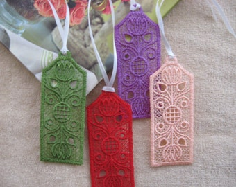 LACE BOOKMARKS. Embroidered lace bookmark. Floral Bookmark.Bookmark with flowers.Book accessories.Reading accessories.