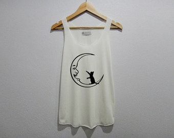 Cat Play With The Moon Tank Top Women Size S M L