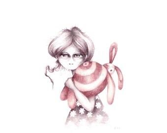Big eyed girl original drawing, lowbrow pop surrealism, girl & bunny, fantasy fairytale rabbit, big eye art, folk gothic pencil illustration