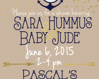 PRINTED-SET OF 12 Preppy Nautical Baby Shower Invitation. Neutral Baby Shower Invites. Baby Boy Shower Invitations.
