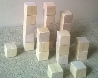Set of 25 - 1.5 inch Unfinished toy Wooden Blocks / Building Blocks made from Pine