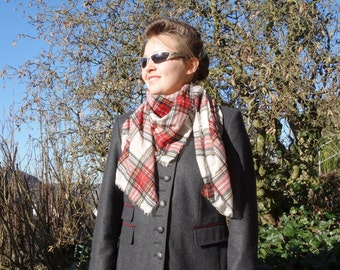 PLAID BLANKET SCARF - square scarf - womens accessories scarves - fashion shawl - plaid checkered pattern style - trendy viscose scarf